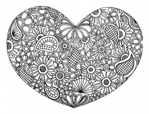 coloring page love heart with flowers