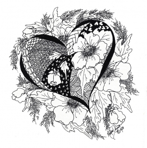 coloring page love heart with leaves and flowers