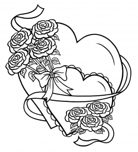 coloring page love simple heart with flowers
