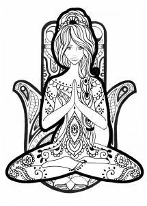 yoga coloring page difficult