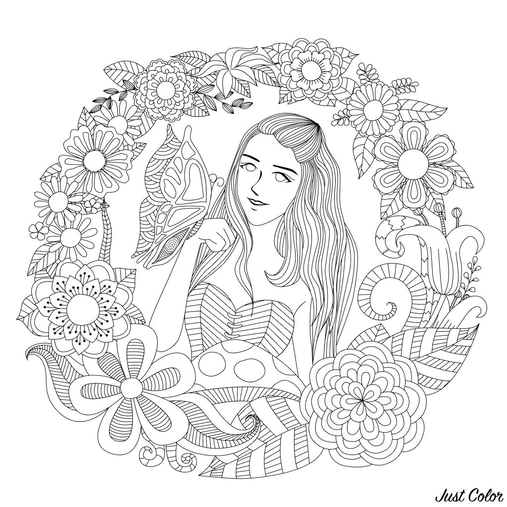 Butterfly girl, a fantastic flowered adult coloring page