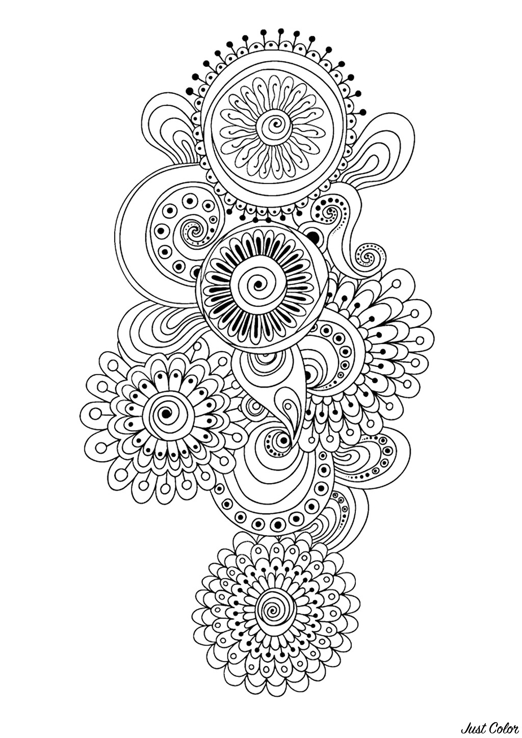 Zen & Anti-stress Coloring page : Abstract pattern inspired by flowers : n°10