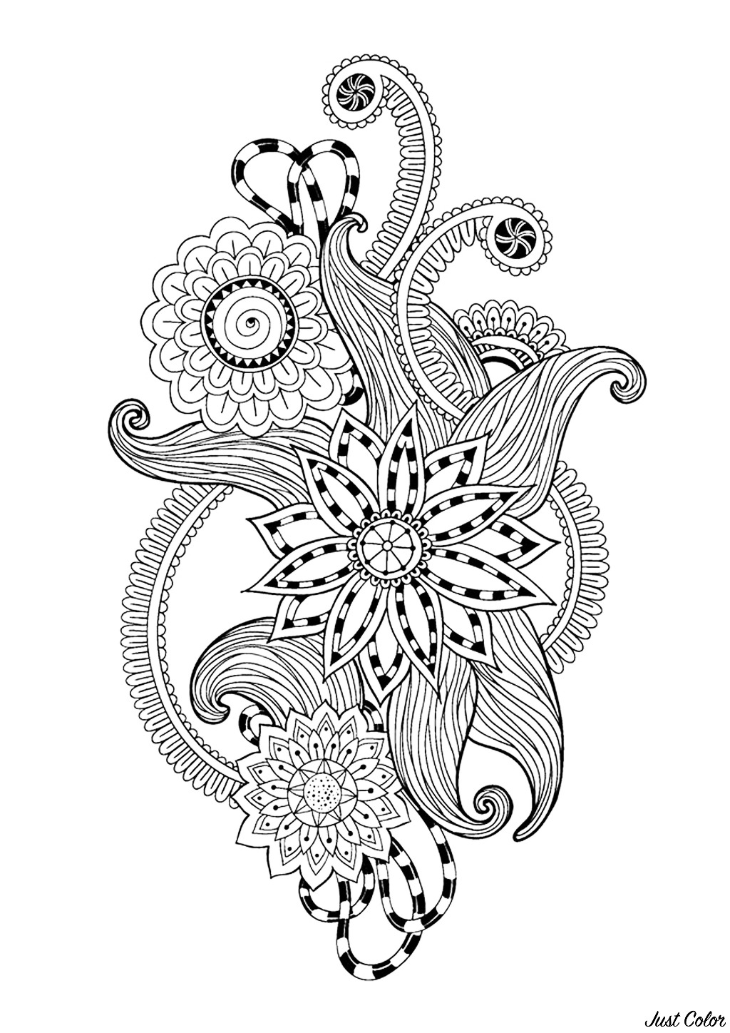 Zen & Anti-stress Coloring page : Abstract pattern inspired by flowers : n°12