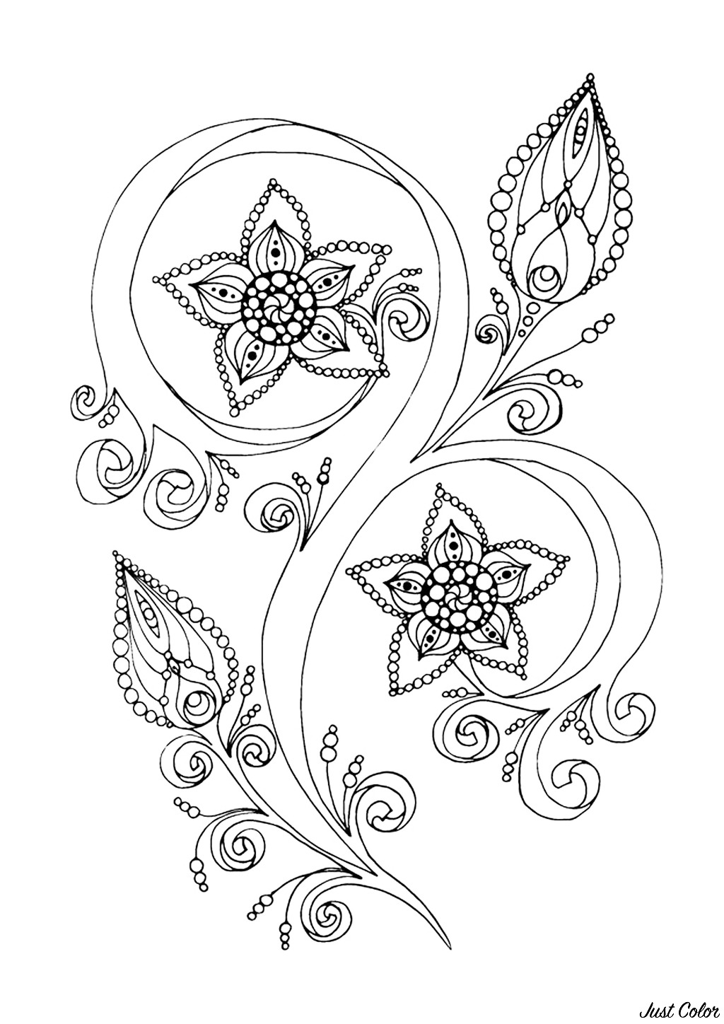 Zen & Anti-stress Coloring page : Abstract pattern inspired by flowers : n°13, by Juliasnegireva (Source : 123rf)