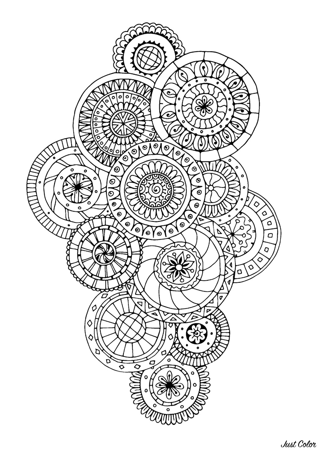 Zen & Anti-stress Coloring page : Abstract pattern inspired by flowers : n°5