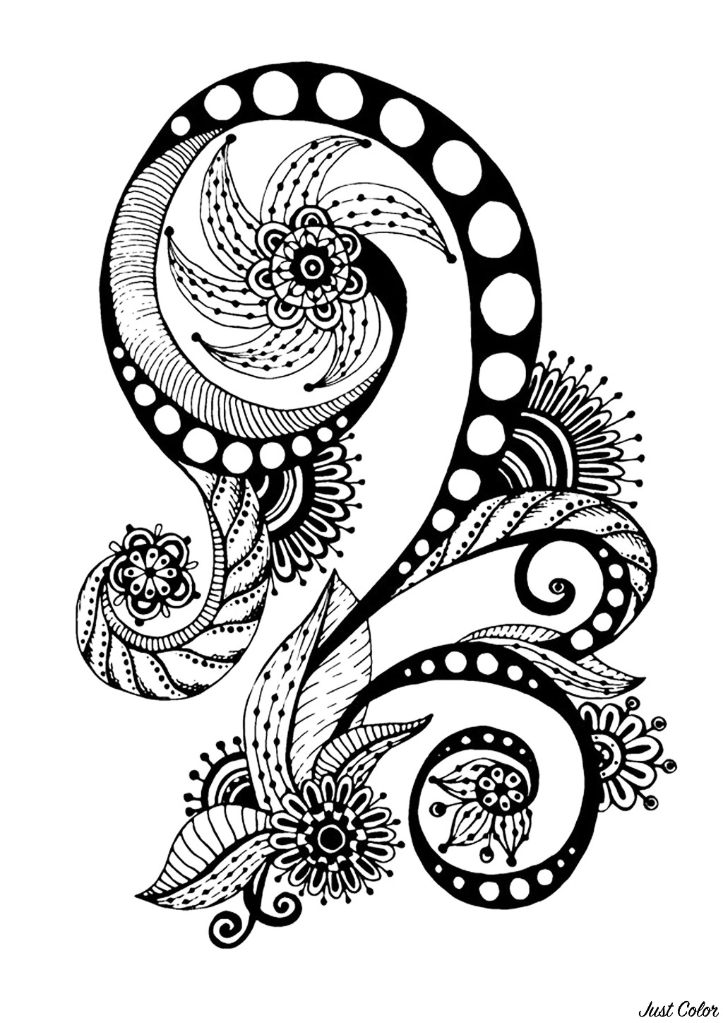 Zen & Anti-stress Coloring page : Abstract pattern inspired by flowers : n°7