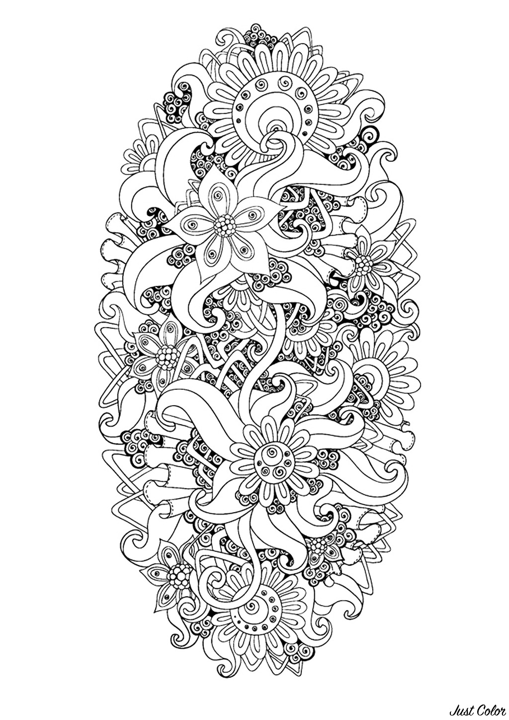Zen & Anti-stress Coloring page : Abstract pattern inspired by flowers : n°9