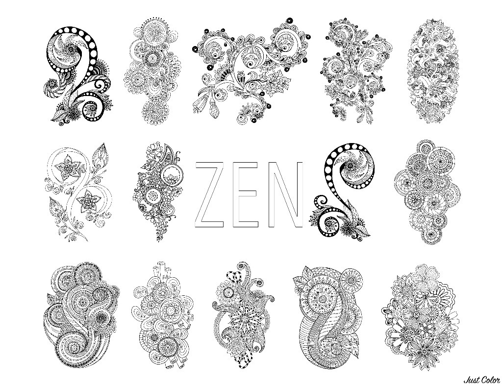 Zen & Anti-stress Coloring page : Abstract pattern inspired by flowers : Full set