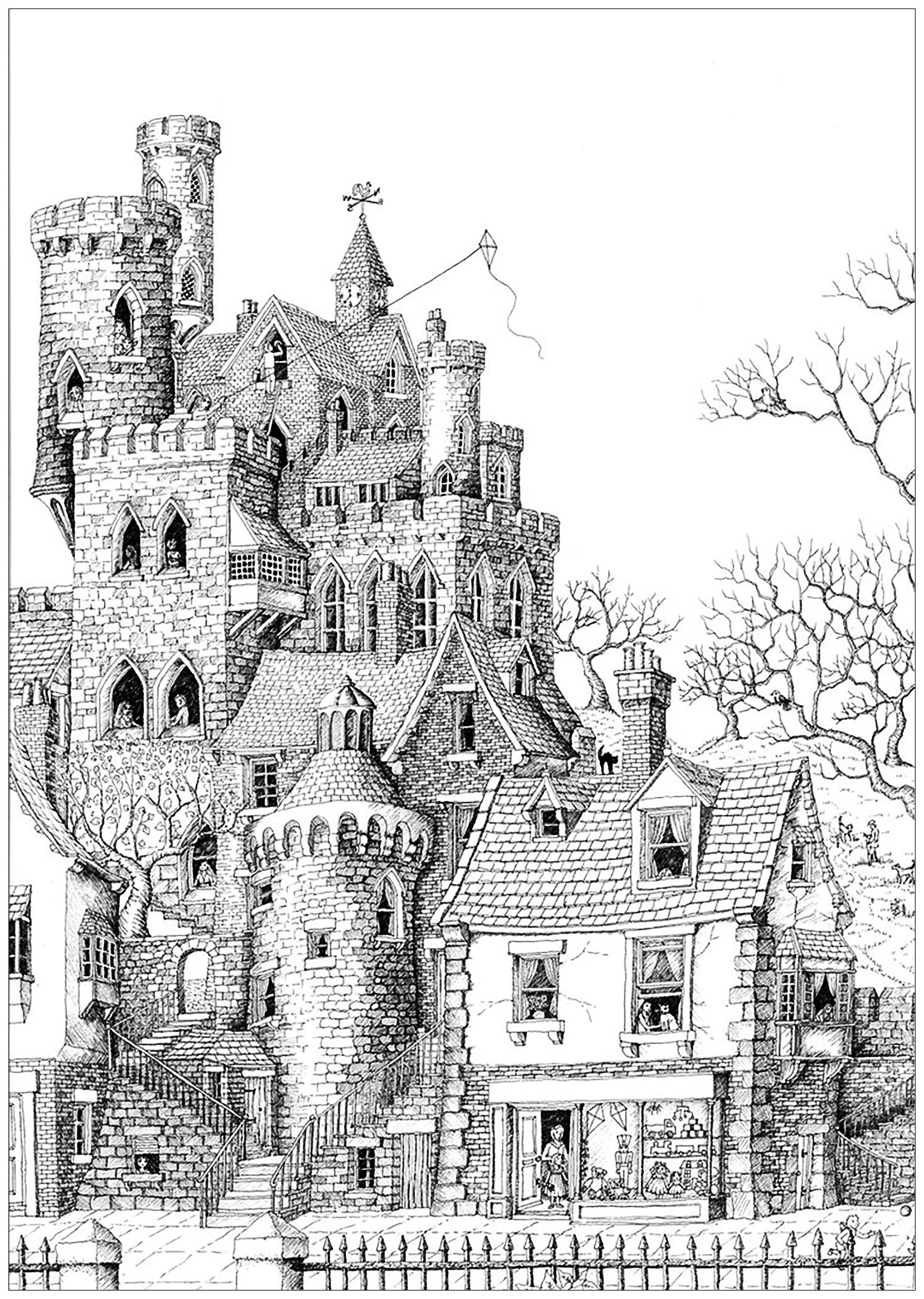 Coloring Page Castle In A Village An Impressive Typical