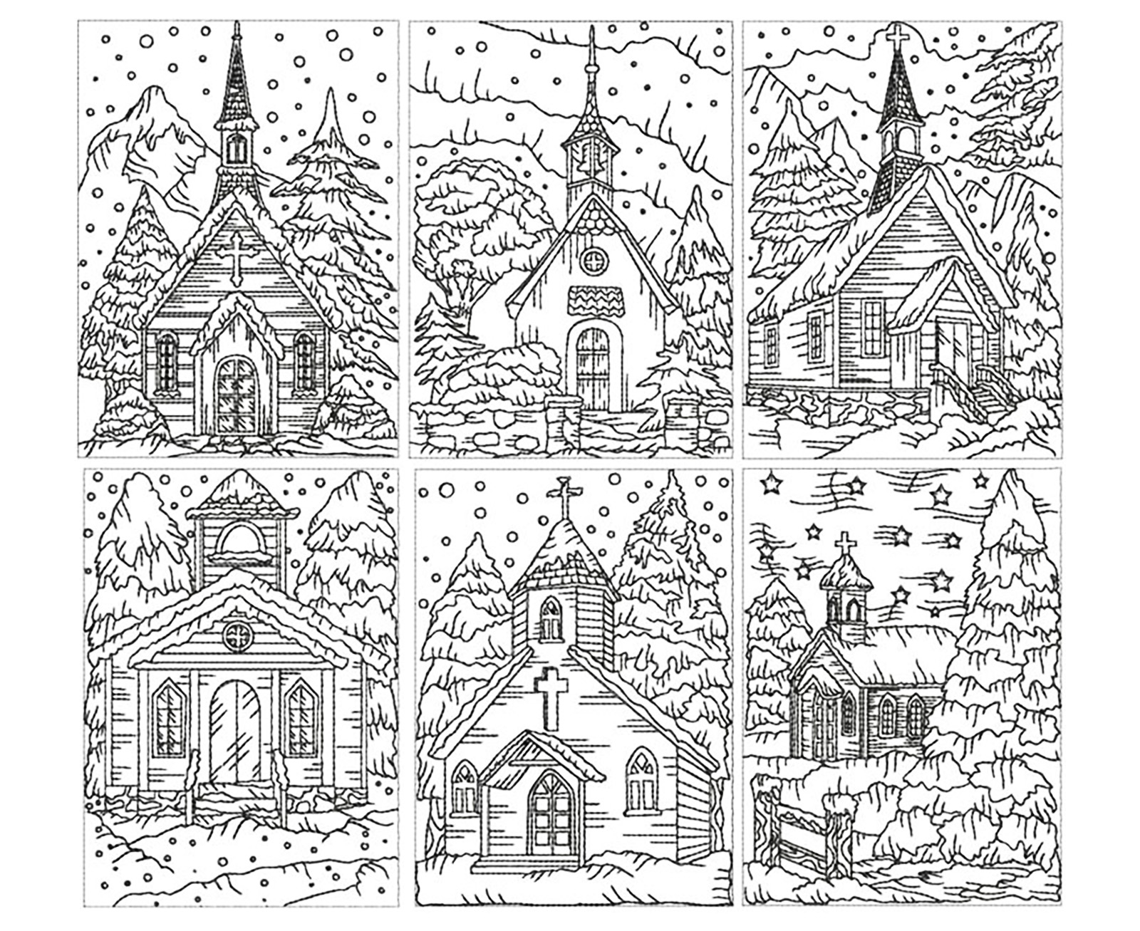 Coloring adult church under the snow