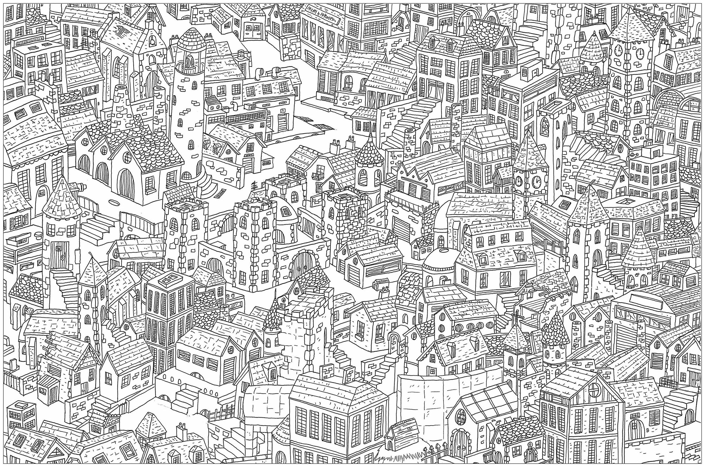 The city a complex coloring page where is waldo style