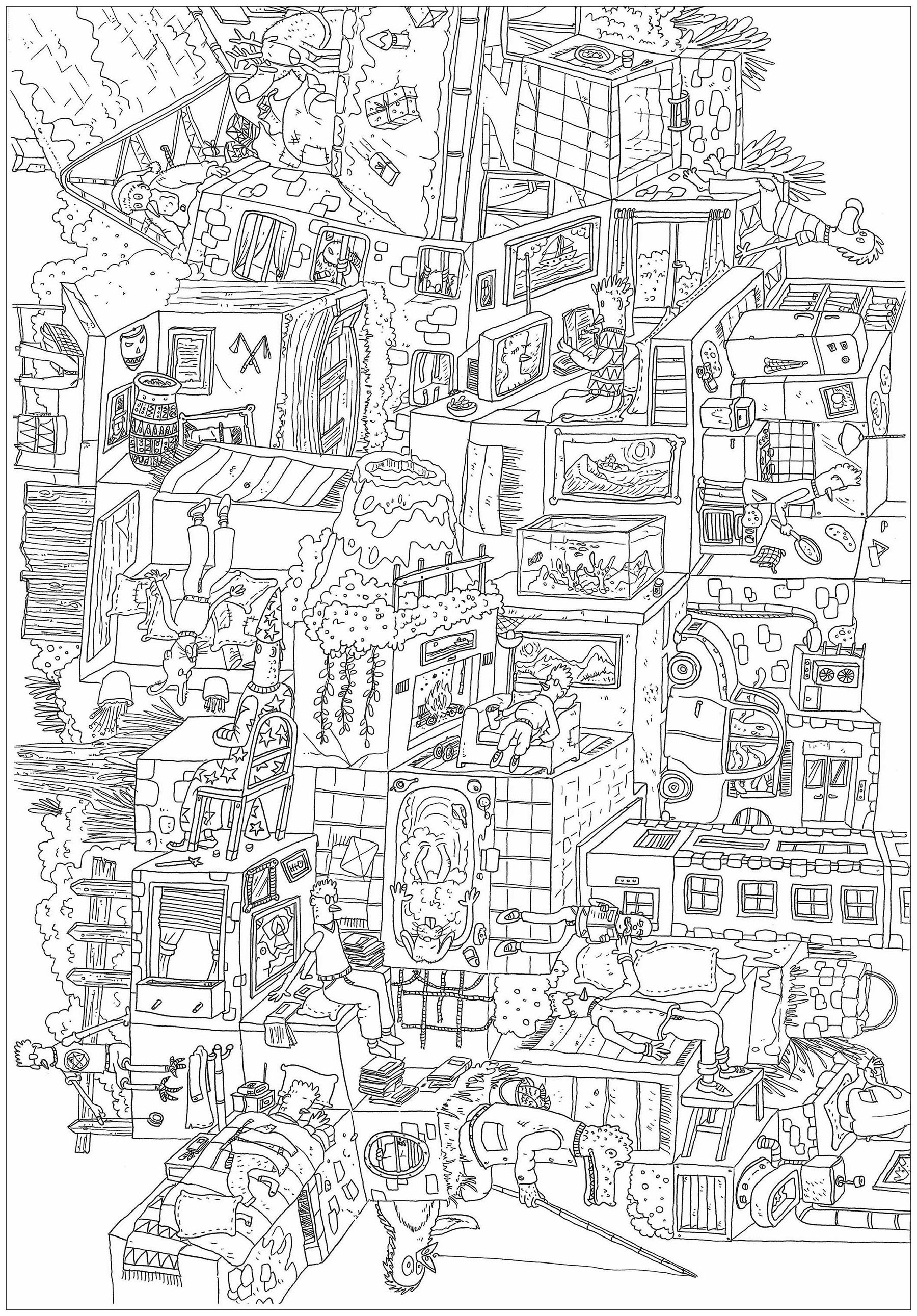 'Meli melo', a complex coloring page, 'Where is Waldo ?' style