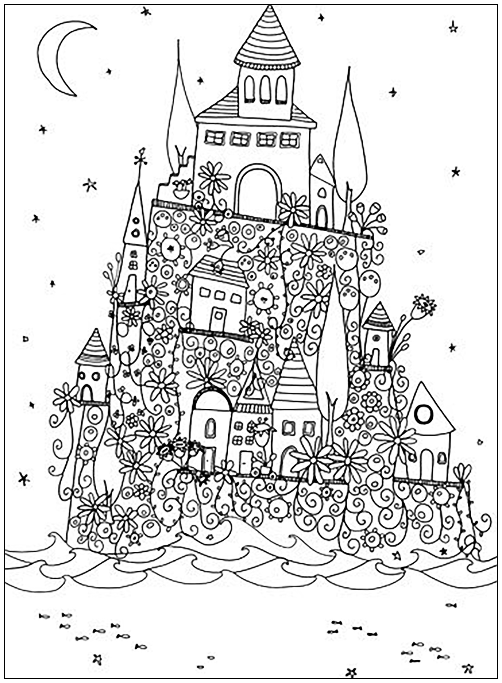 Fantasy castle Architecture Adult Coloring Pages