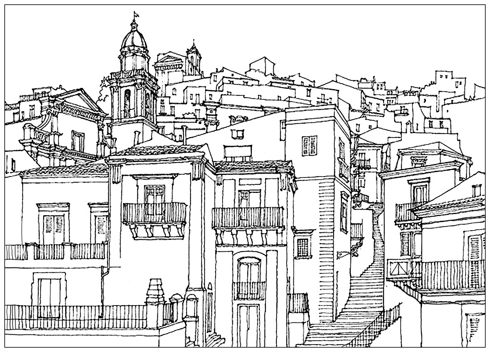 Drawing Of A Village In Sicilia Italia