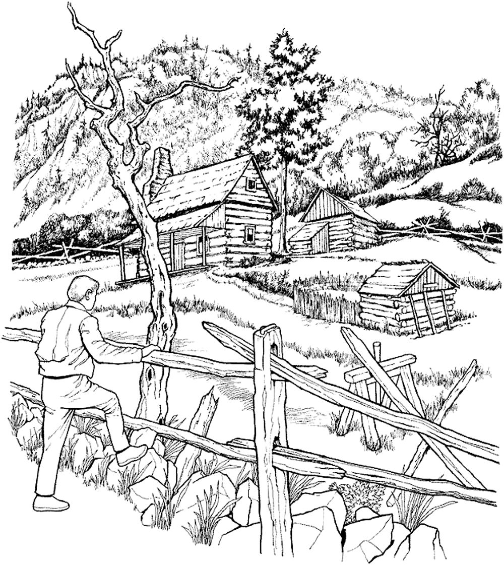 Coloring adult snowy cabins