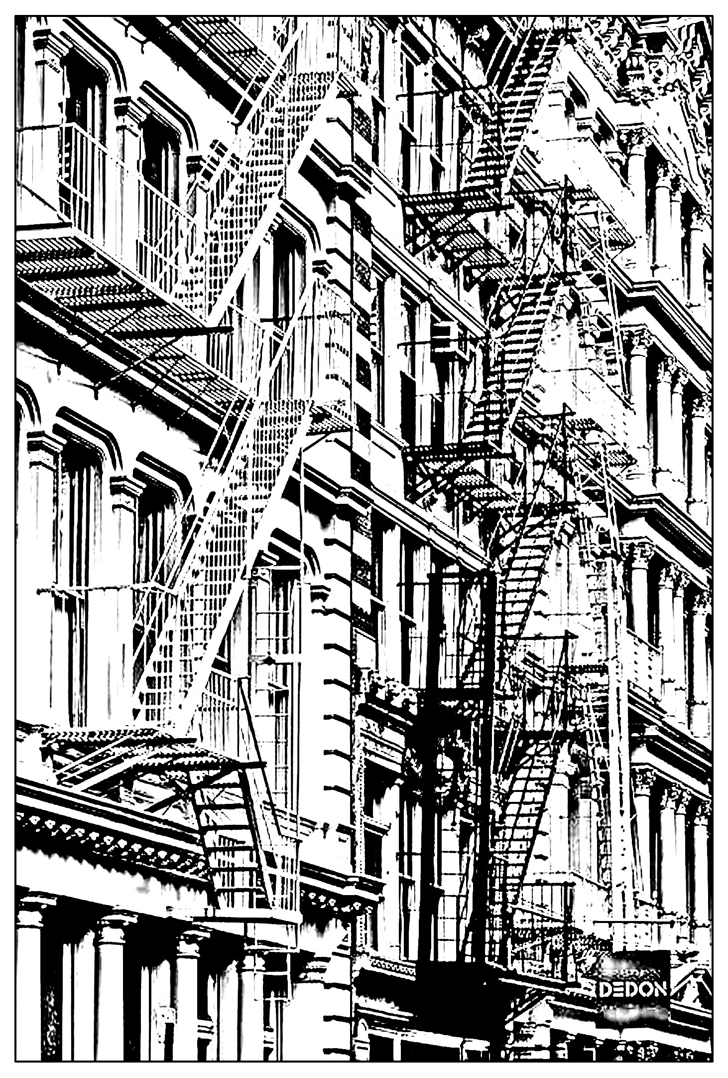 architecture and living coloring pages for adults coloring