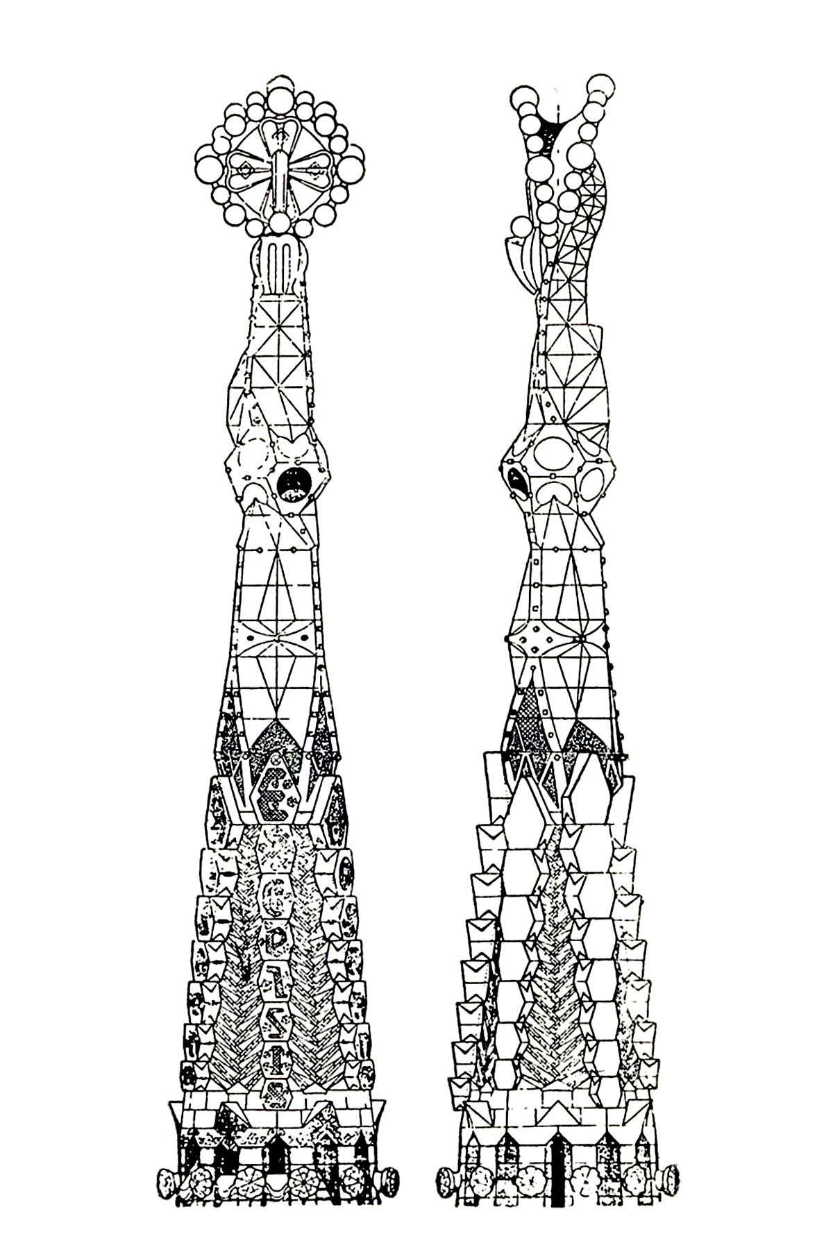Drawing of two towers of the Sagrada Familia : the unfinished Cathedral by Gaudi