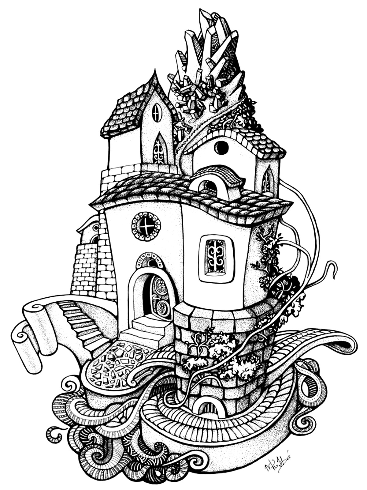 Coloring Page Architecture House Rounded