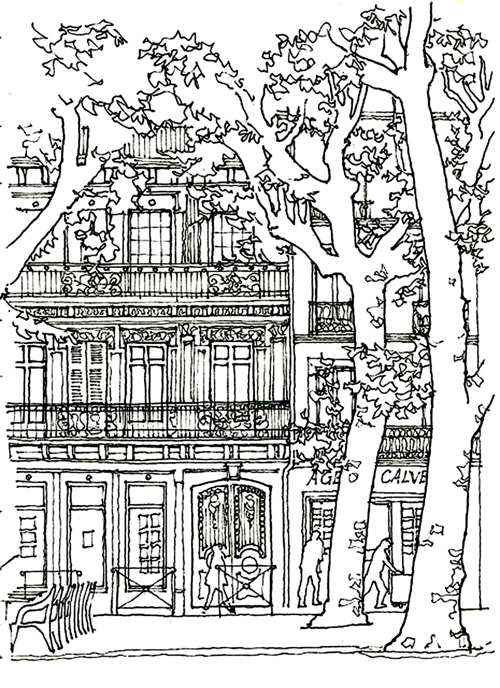 Coloring page architecture house tree harmony between habitation vegetation