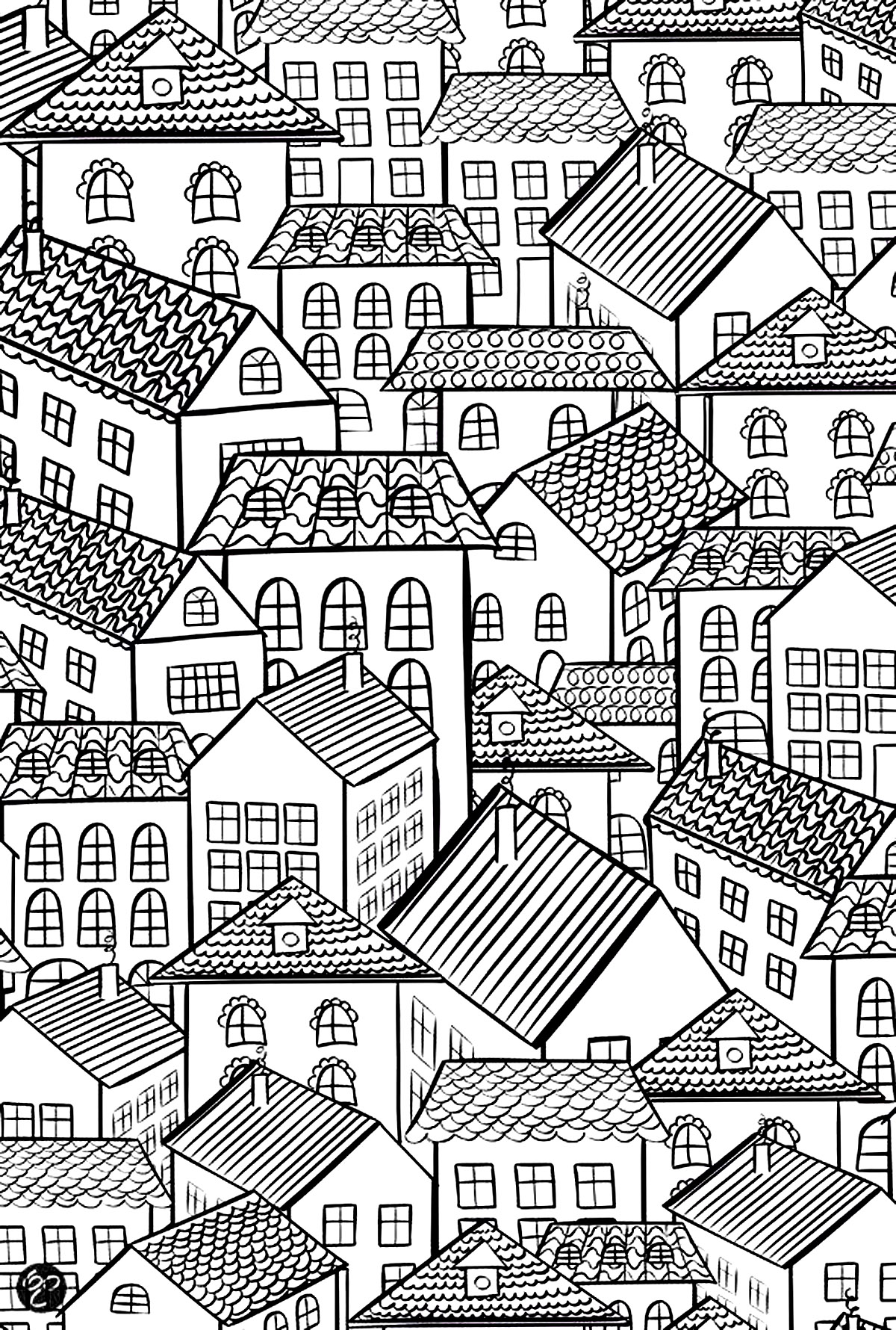 coloring page architecture village roofs village house with beautiful roofs