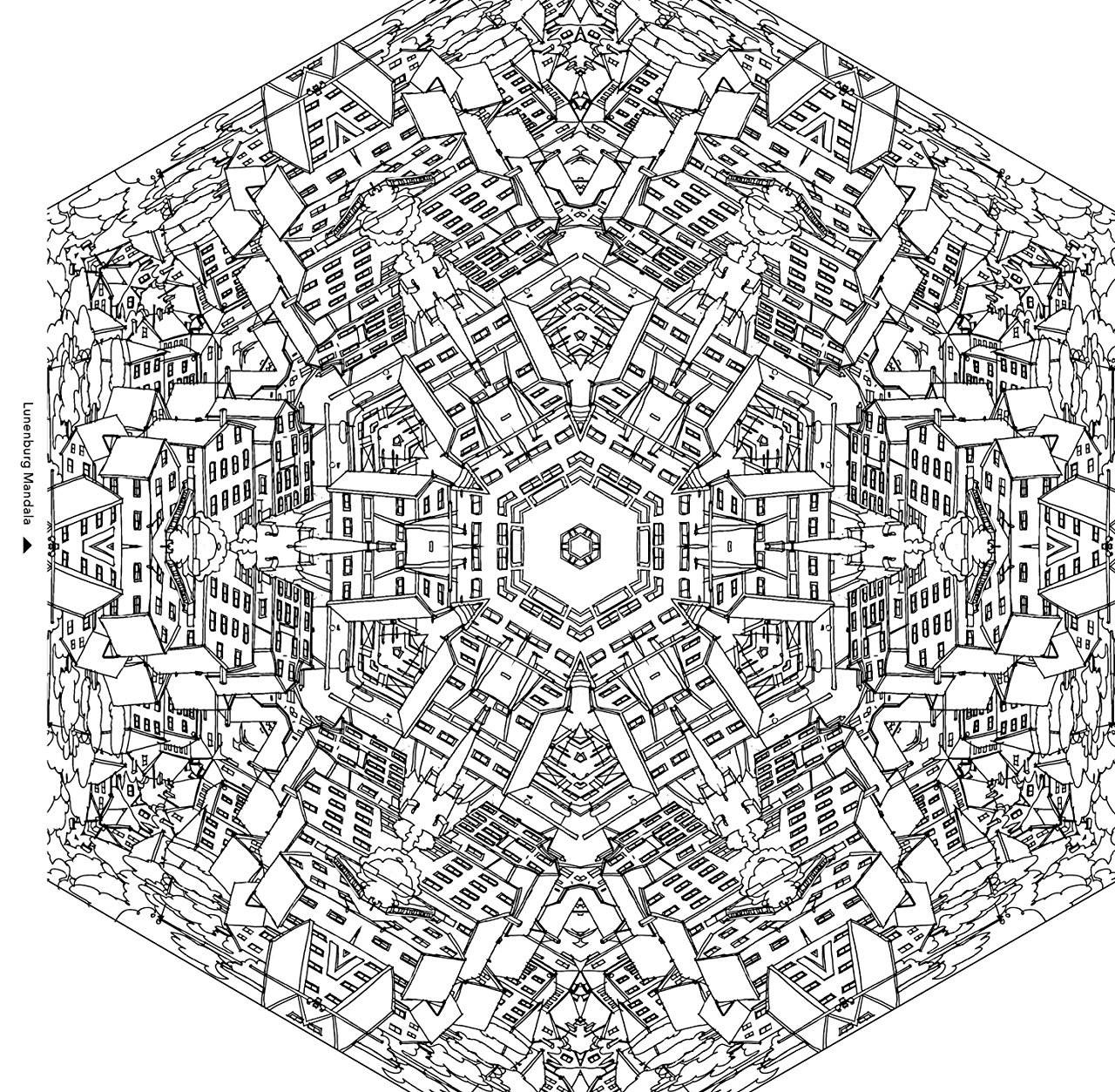 City buildings in a mandala - Architecture Adult Coloring Pages - Page 2