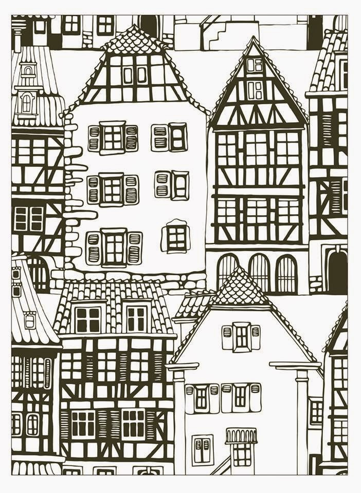 coloring sheet of typical alsacian houses in france from the gallery architecture living