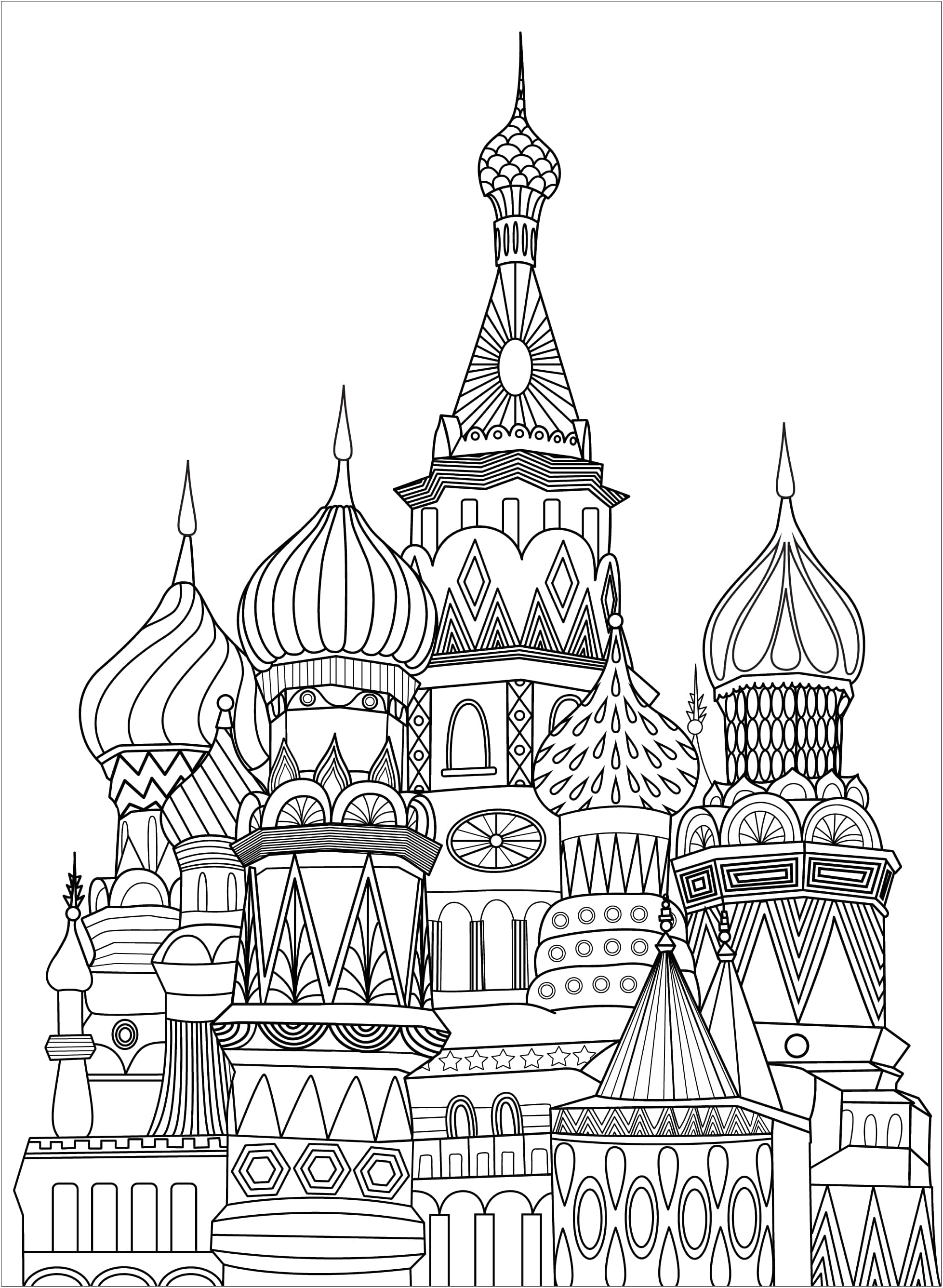 Unique coloring page representing Red Square in Moscow. Red Square is an open square in Moscow adjoining the historic fortress and centre of government known as the Kremlin