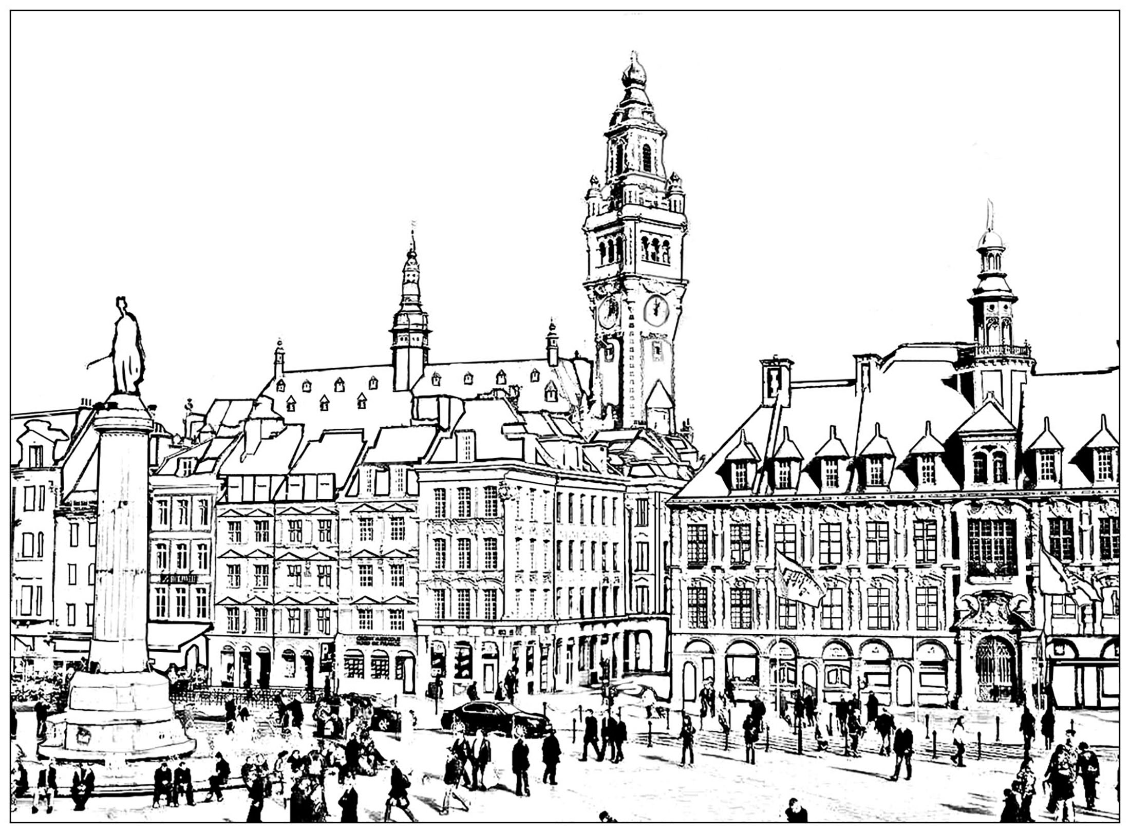 Coloring page of the City of Lille, in North of France