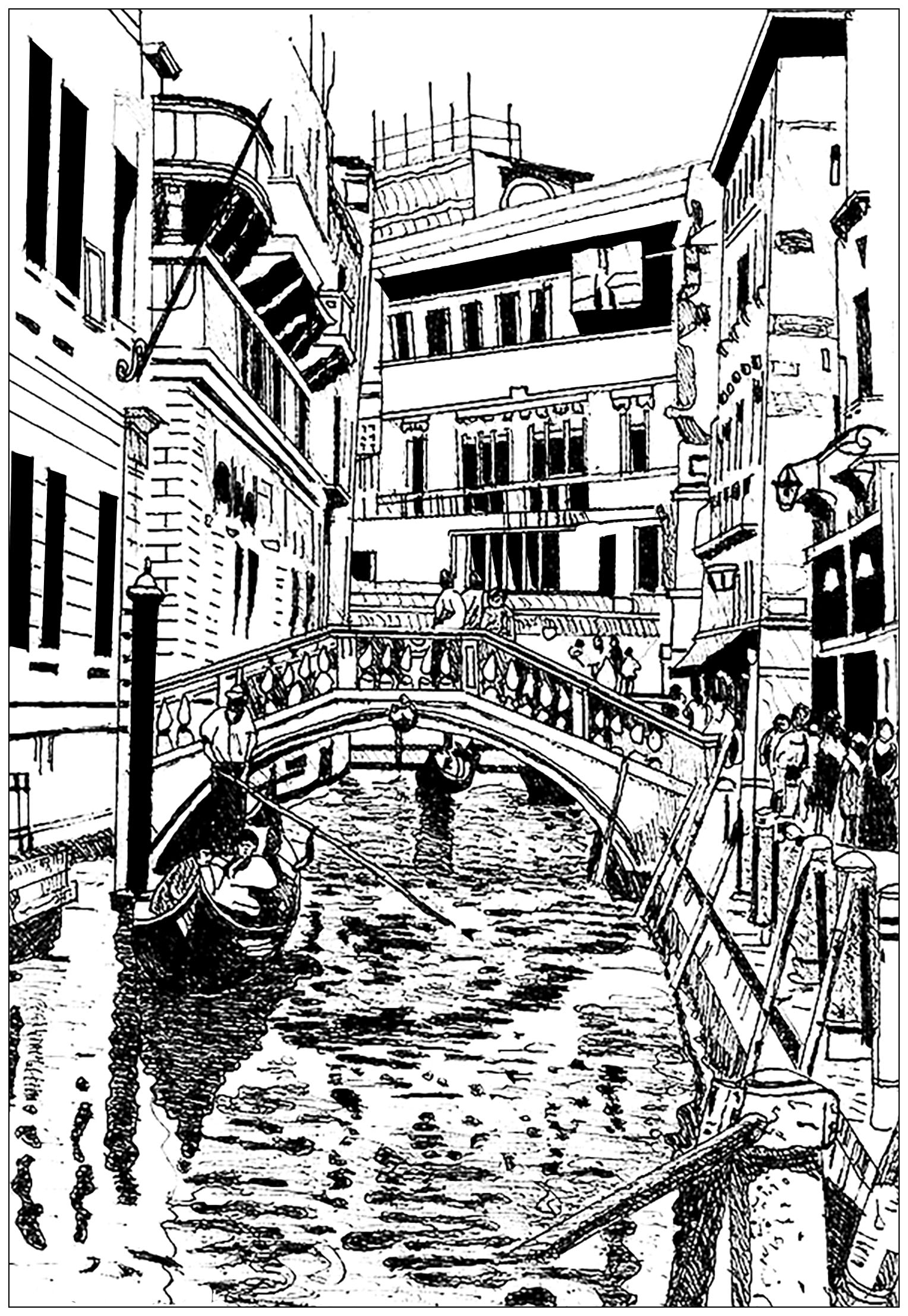 Drawing of Venice, in Italy