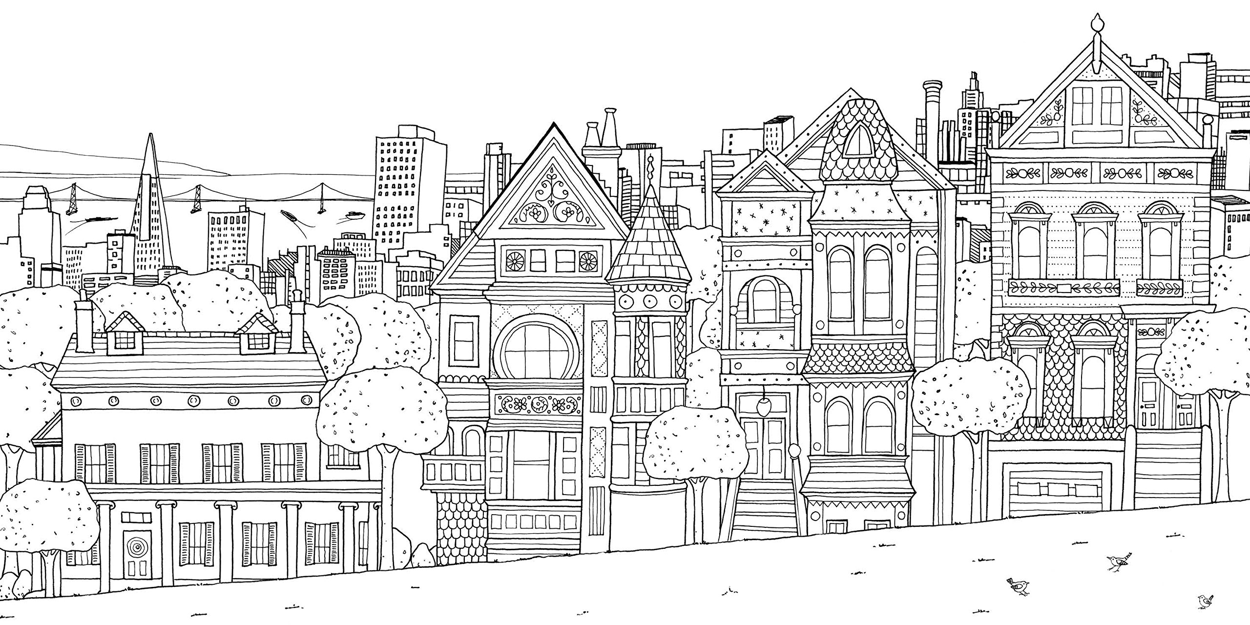 San franscico houses - Architecture Adult Coloring Pages