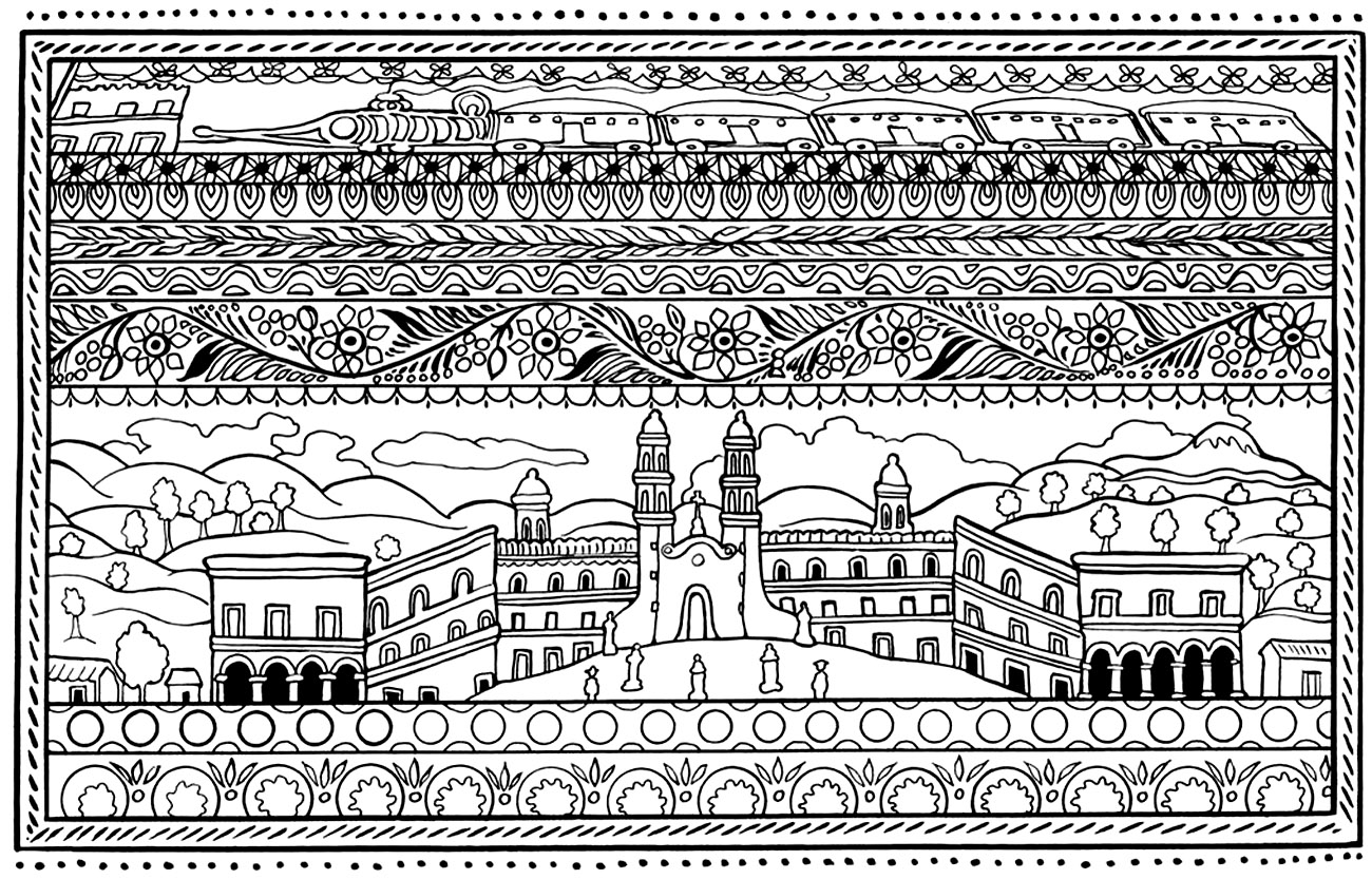 Spanish architecture - Architecture Adult Coloring Pages