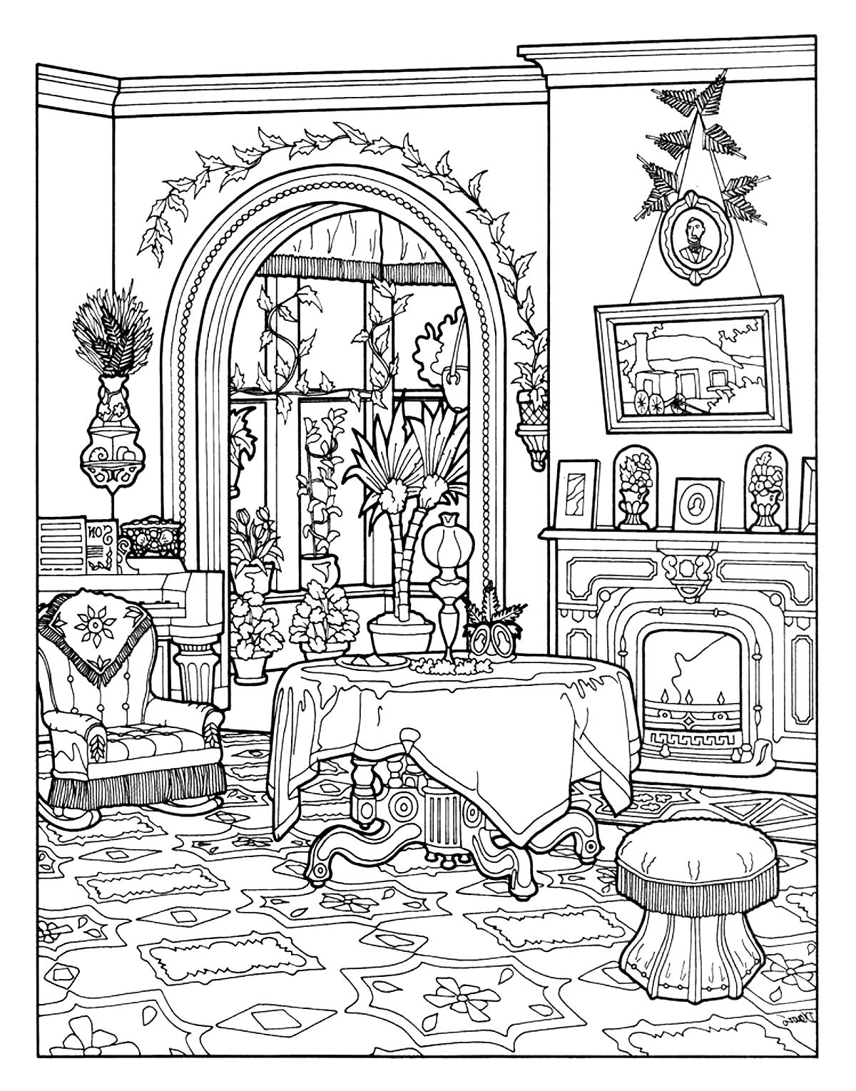 Coloring sheet of a victorian interior