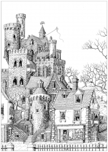 coloring-adult-castle-in-a-village free to print