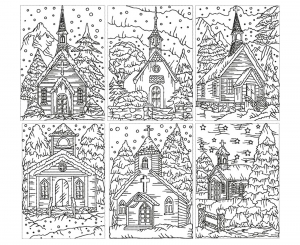 coloring-adult-church-under-the-snow free to print
