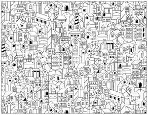 coloring-adult-city-buildings free to print