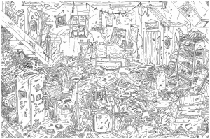 coloring-adult-complex-attic free to print