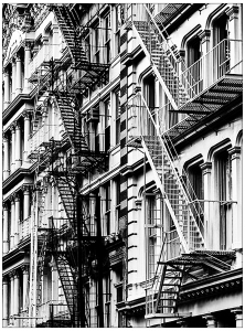 coloring adult new york stairs