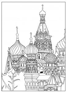 Coloring adult Saint Basil cathedral Red Square Moscow