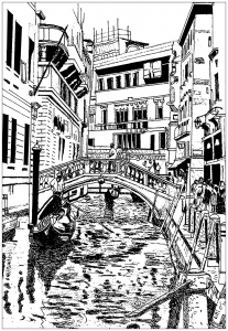 coloring page venice drawing