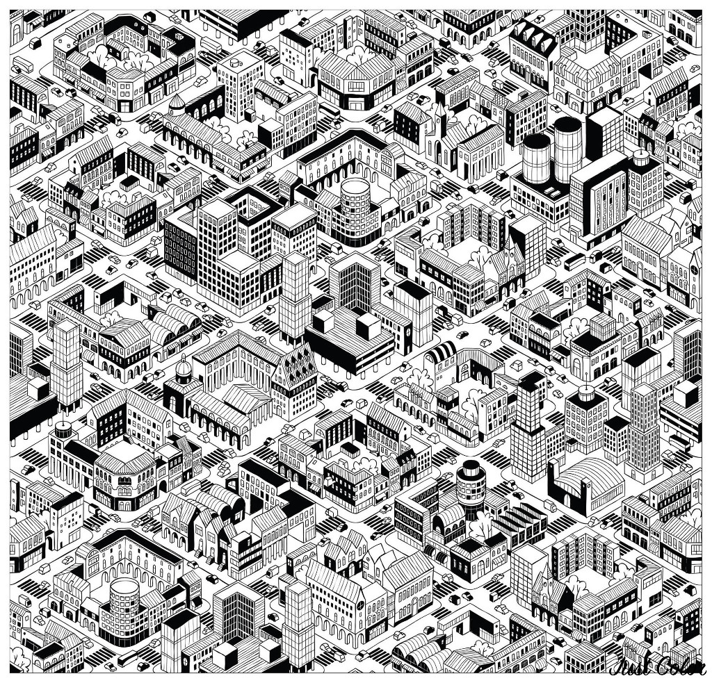 Color this city that seems to have been created in the Video game Sim City ! Incredible buildings : all different and unique