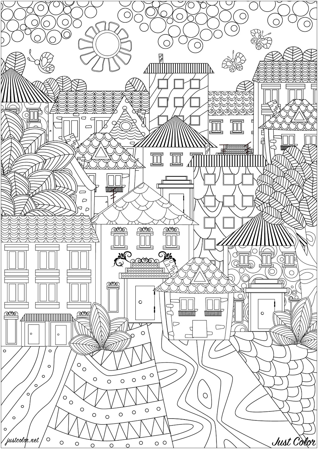 A town made up of pretty houses with simple and elegant patterns
