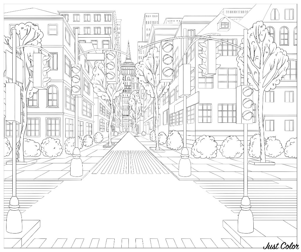 North America Street Architecture Adult Coloring Pages