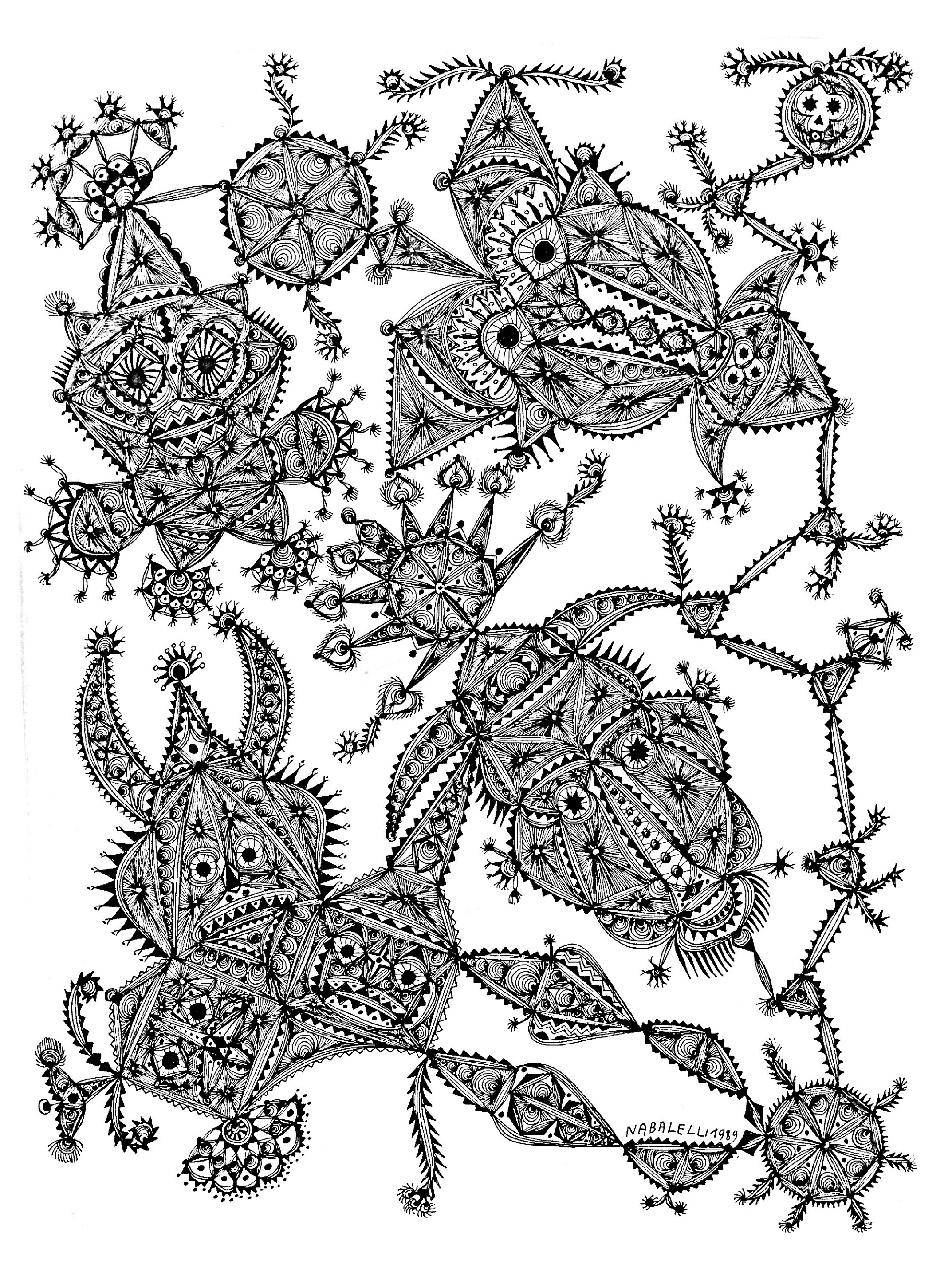 Difficult coloring page for adult, made with a picture by Marc Lamy