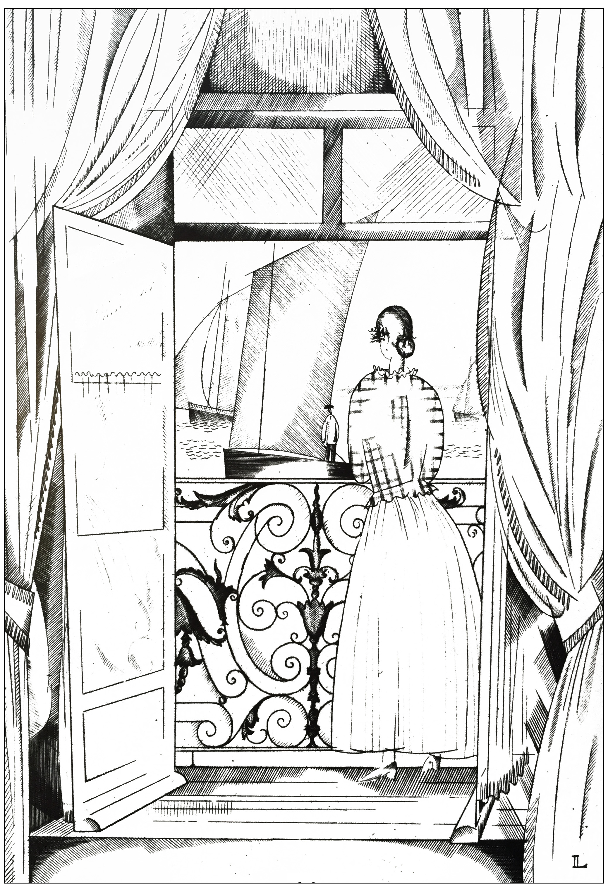 Coloring page created from an Art Deco drawing by Jean-Emile Laboureur : The balcony over the sea (1923)