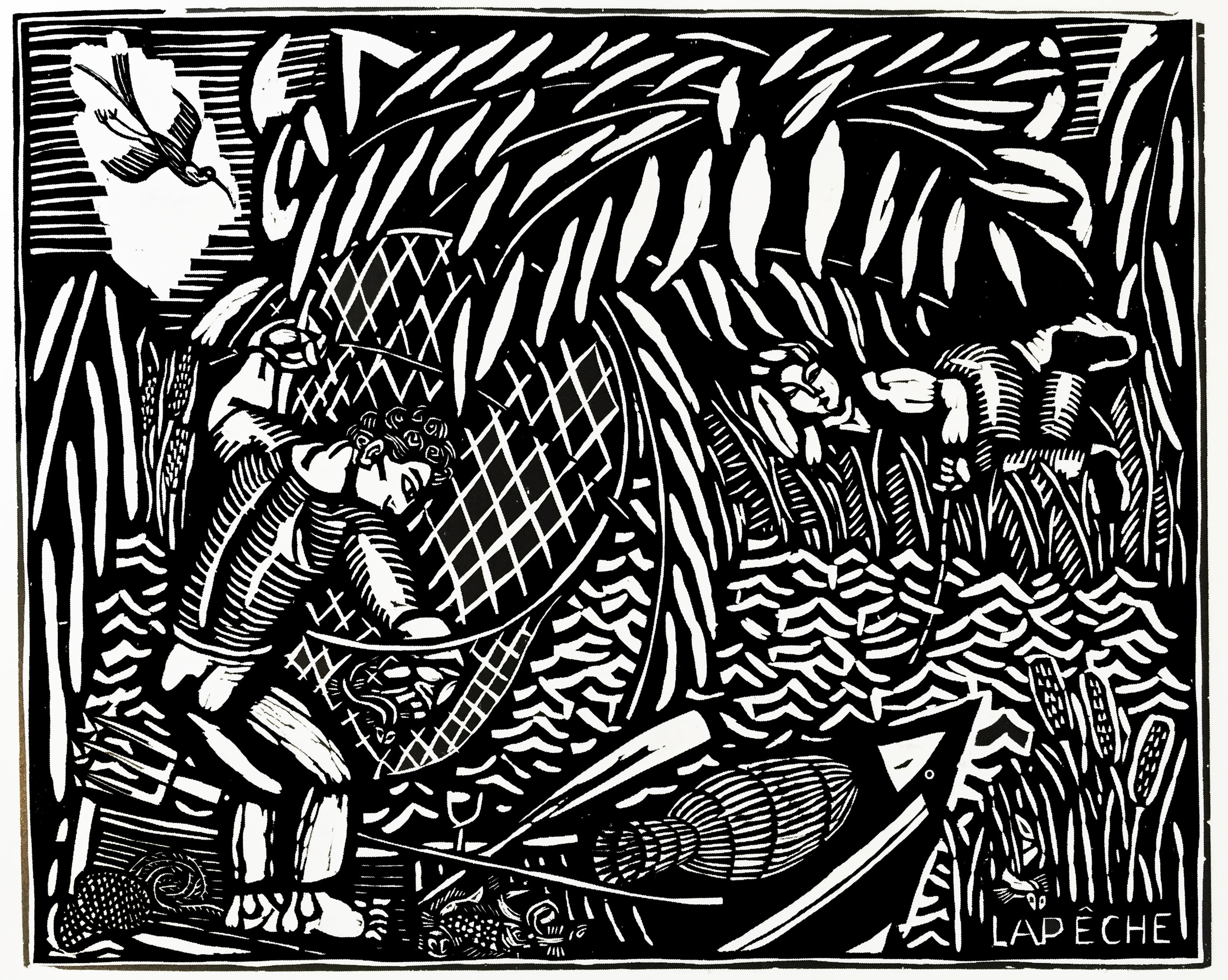 Coloring page created from an Art Deco engraving by Raoul Dufy : Fishing (1910)