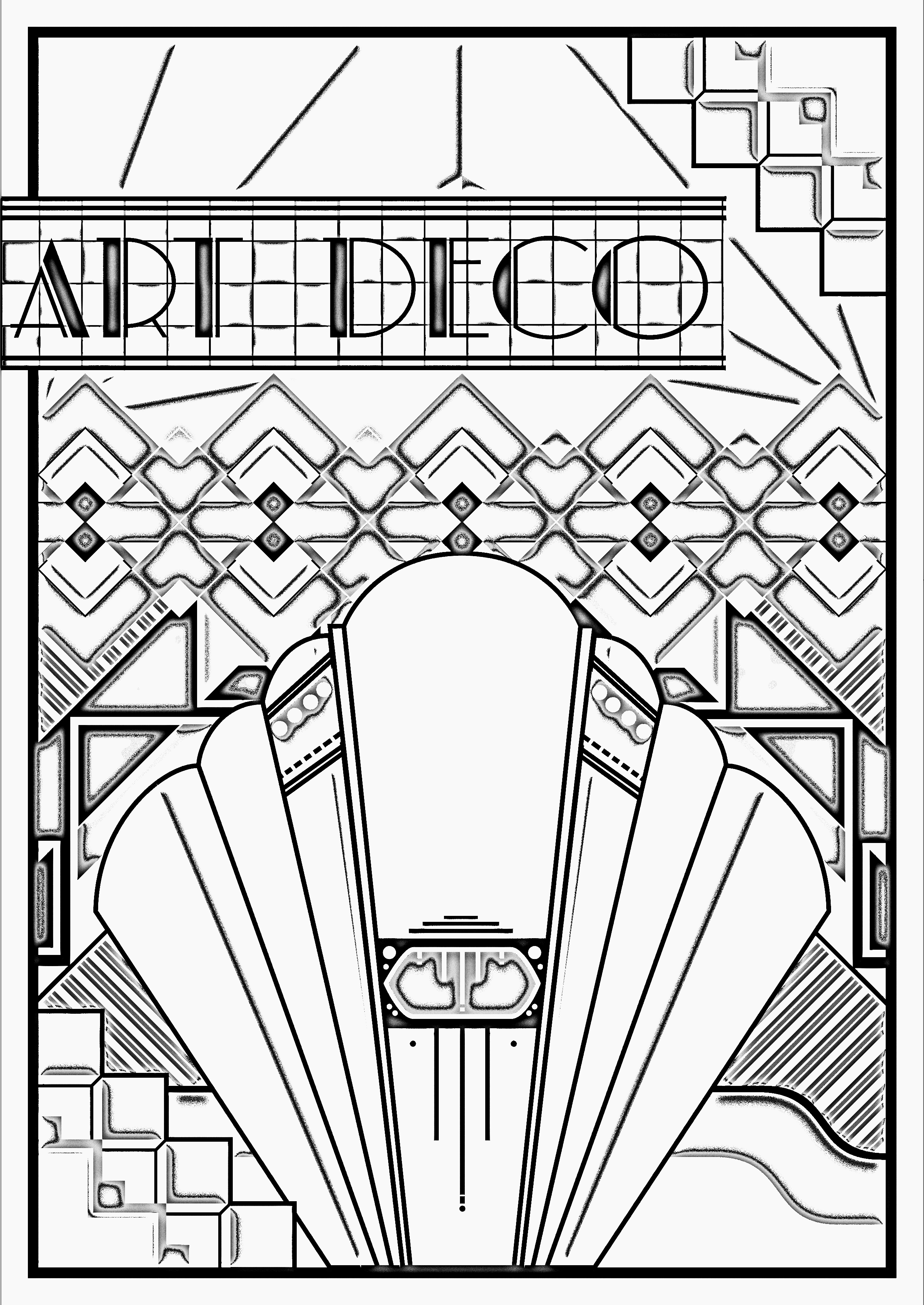 Art deco poster art deco adult coloring pages for Art color pages