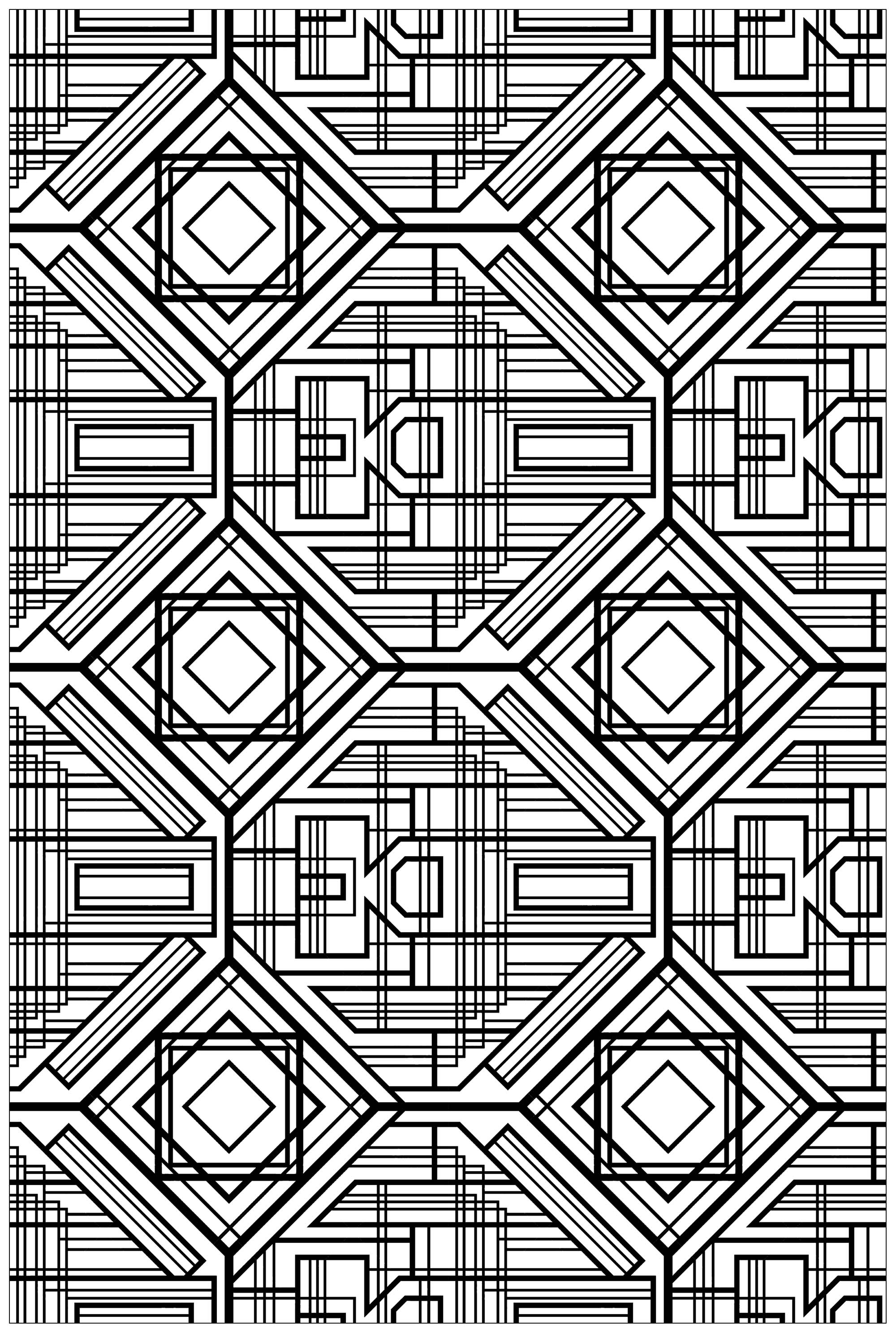 Art deco complex pattern - Art Deco Adult Coloring Pages