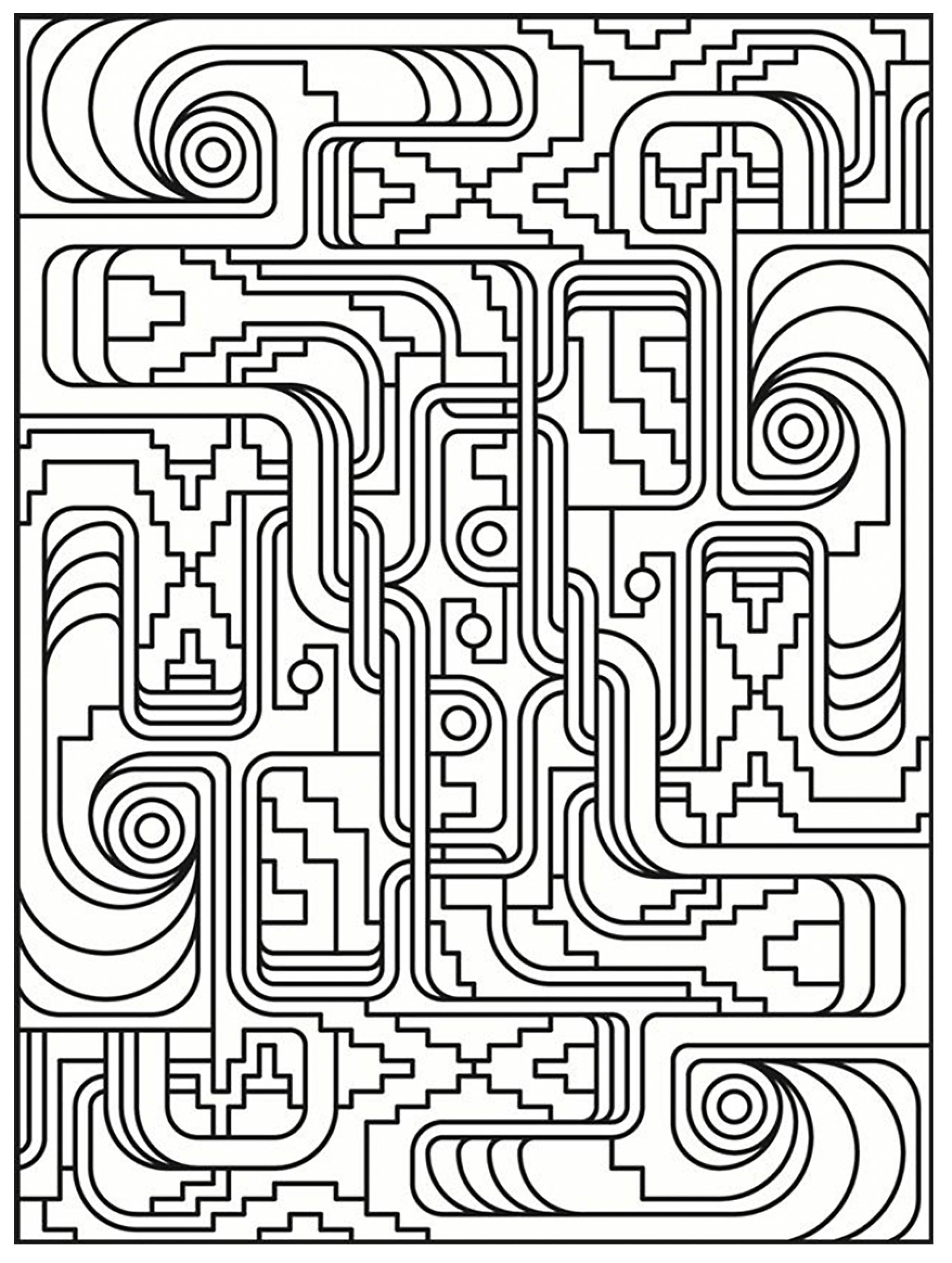 Art deco simple pattern - Art Deco Adult Coloring Pages