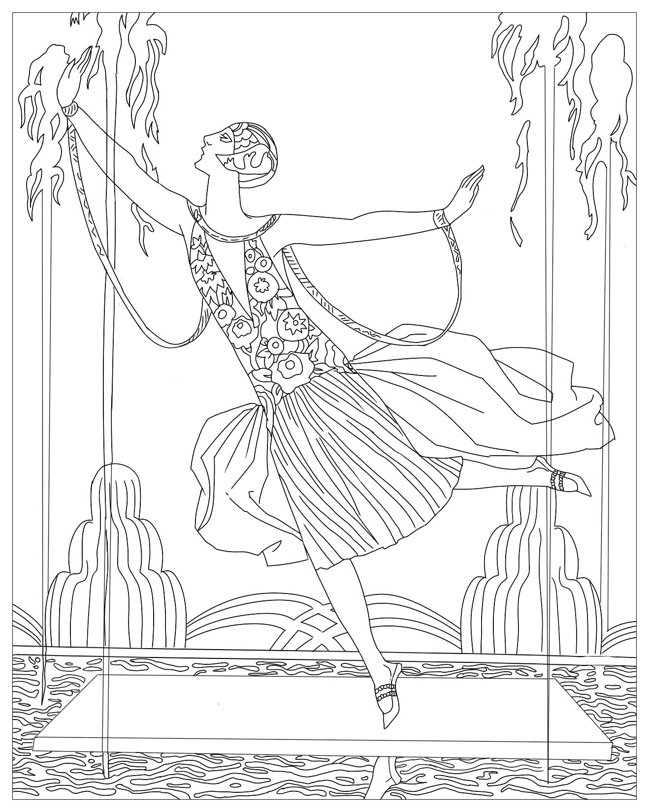 Coloring page created from an Art Déco illustration by George Barbier : Dancer with water jets