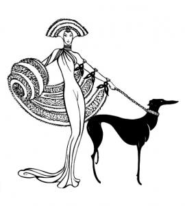 Coloring adult art deco femme chien
